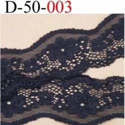 dentelle noir largeur 50 mm lycra élastique très douce couleur noir vendue au mètre