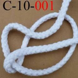 cordon 100 % coton superbe souple et doux couleur blanc lumineux diamètre 10 mm le mètre