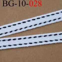 biais sergé galon ruban couleur blanc liserets noir souple et doux largeur 10 mm vendu au mètre