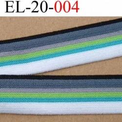 élastique plat souple belle qualité couleur noir bleu gris vert et blanc largeur 20 mm vendu au mètre
