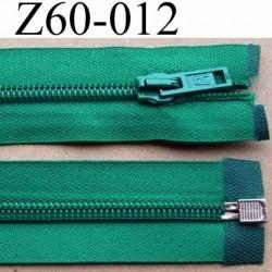 fermeture éclair longueur 60 cm couleur vert séparable  largeur 3.2 cm glissière nylon largeur 6.5 mm curseur en métal