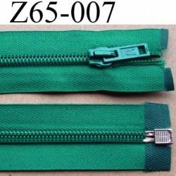 fermeture éclair longueur 65 cm couleur vert séparable largeur 3.2 cm glissière nylon largeur 6.5 mm curseur en métal