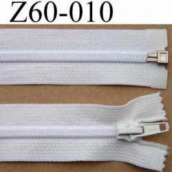 fermeture éclair blanche longueur 60 cm couleur blanc séparable zip nylon largeur 3 cm largeur de la glissière zip 6 mm