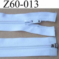 fermeture éclair blanche largeur 3 cm longueur 60 cm couleur blanc séparable  largeur de la glissière nylon 6 mm