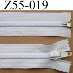 fermeture éclair longueur 55 cm couleur blanc séparable largeur 3.2 cm zip glissière nylon largeur 6 mm