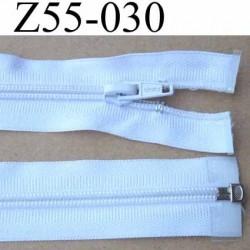 fermeture éclair longueur 55 cm couleur blanc séparable largeur 3.2 cm zip glissière nylon largeur 6 mm curseur en métal