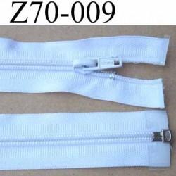 fermeture éclair blanche largeur 3 cm longueur 70 cm couleur blanc séparable largeur de la glissière nylon 6 mm curseur en métal