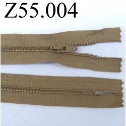 fermeture 55 cm marron clair non séparable zip nylon