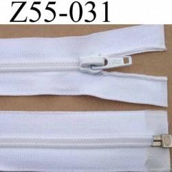 fermeture éclair longueur 55 cm couleur blanc séparable largeur 3.2 cm zip glissière nylon largeur 6,5 mm curseur en métal