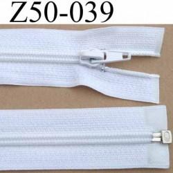 fermeture éclair longueur 50 cm couleur blanc séparable largeur 3.2 cm zip glissière nylon largeur 6 mm curseur en métal