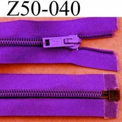 fermeture éclair longueur 50 cm couleur violet  séparable largeur 3.2 cm zip glissière nylon largeur 6 mm curseur en métal