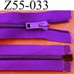 fermeture éclair longueur 55 cm couleur violet séparable largeur 3.2 cm zip glissière nylon largeur 6 mm curseur en métal