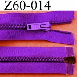 fermeture éclair violet largeur 3 cm longueur 60 cm couleur violet foncé séparable largeur de la glissière nylon 6 mm
