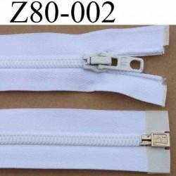 fermeture éclair longueur 80 cm couleur blanc séparable largeur 3,2 cm largeur de la glissière zip nylon 6.5 mm curseur métal