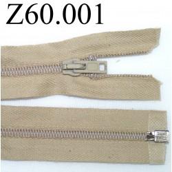 fermeture 60 cm beige séparable zip nylon