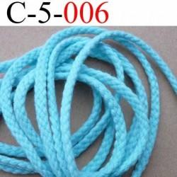 cordon en coton couleur bleu vert diamètre 5 mm vendu au mètre