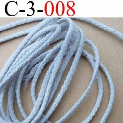 cordon en coton couleur gris diamètre 3 mm vendu au mètre