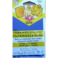 thermocollant nigal 100 % coton couleur bleu roy dimension 12 X 45 centimètres  prix 2.85 € pour tout tissus