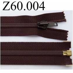 fermeture 60 cm marron séparable zip nylon