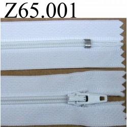 fermeture 65 cm blanche non séparable zip nylon