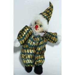 clown vert hauteur 14 cm tête en porcelaine