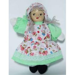 poupée chiffon tête en porcelaine hauteur 14 cm