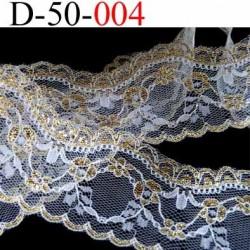 dentelle très belle synthétique largeur 50 mm couleur blanc et or vendu au mètre