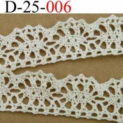 dentelle crochet ancienne 100% coton largeur 25 mm couleur écru provient d'une vieille mercerie parisienne vendue au mètre