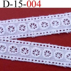 dentelle broderie anglaise 100 % coton blanc 15 mn vendu au mètre