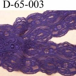 dentelle style ancien synthétique lycra couleur violet largeur 65 mm vendu au mètre