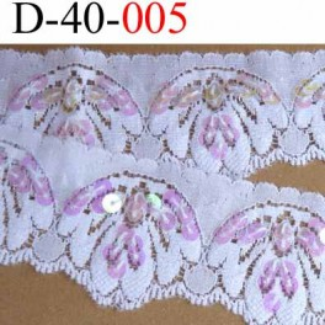 dentelle synthétique lycra extensible blanche avec paillettes roses largeur 40 mm  vendu au mètre