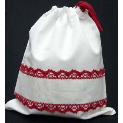 sac polochon coton à broder blanc et rouge toile aida 5.5