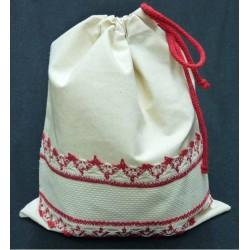 sac polochon coton à broder naturel et rouge toile aida 5.5
