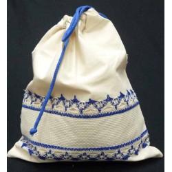 sac polochon coton à broder naturel et bleu toile aida 5.5