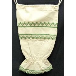 sac à sacs à broder écru dentelle verte toile aida