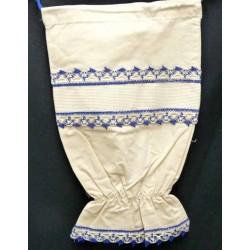sac à sacs à broder coton écru dentelle bleu  toile aida