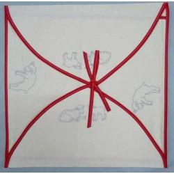 enveloppe coussin à broder toile écru coton motifs moutons biais rouge