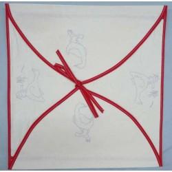 enveloppe coussin à broder toile écru coton motifs oies biais rouge