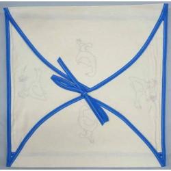 enveloppe coussin à broder toile écru coton motifs oies biais bleu