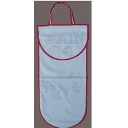 sac à pain à broder toile coton écru motif les foins biais rouge