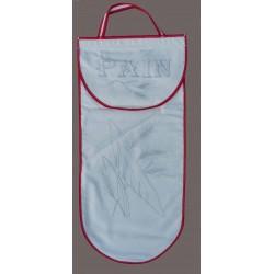 sac à pain à broder toile coton écru motif pain biais rouge