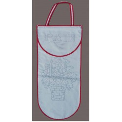 sac à pain à broder toile coton écru motif fleurs biais rouge