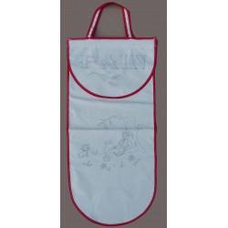 sac à pain à broder toile coton écru motif meunier biais rouge