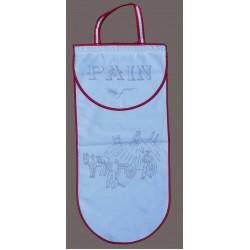sac à pain à broder toile coton blanc motif les foins biais rouge