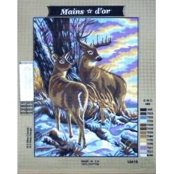 Canevas 40x50 marque MAINS D'OR biche et cerf dimension 40 centimètres par 50 centimètres 100 % coton