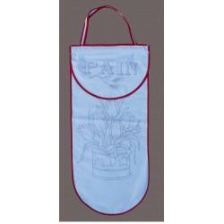 sac à pain à broder toile coton blanc motif fleurs biais rouge