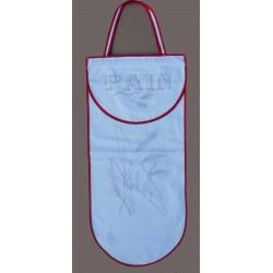 sac à pain à broder toile coton blanc motif pain biais rouge