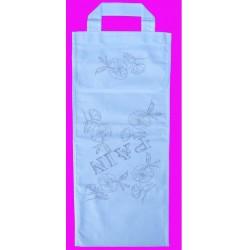 sac à pain à broder toile coton blanc motif fleurs