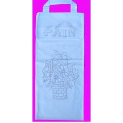 sac à pain à broder toile coton blanc motif corbeille de fleurs