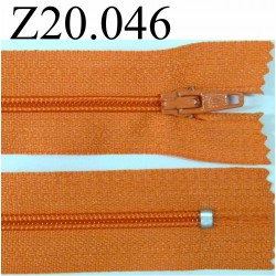 fermeture 20 cm orange non séparable zip nylon